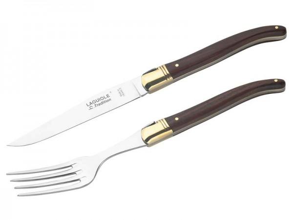 Laguiole Steakmesser mit Gabel, in Holzbox,