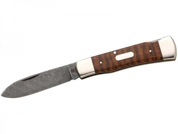 Hartkopf-Taschenmesser, 300-lagige Rosendamast-Klinge,, Schlangenholz, Neusilberbacken, Gravurplättc