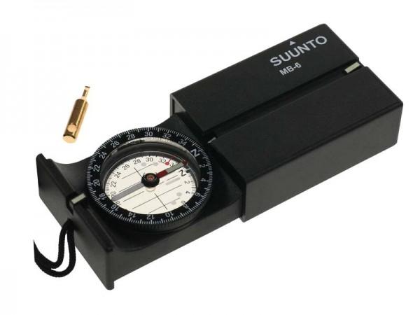 SUUNTO MB-6NH Kompass, 360 Grad Einteilung, Direktpeilung,, abklappbarer Spiegel, Dämmerungsmarken,