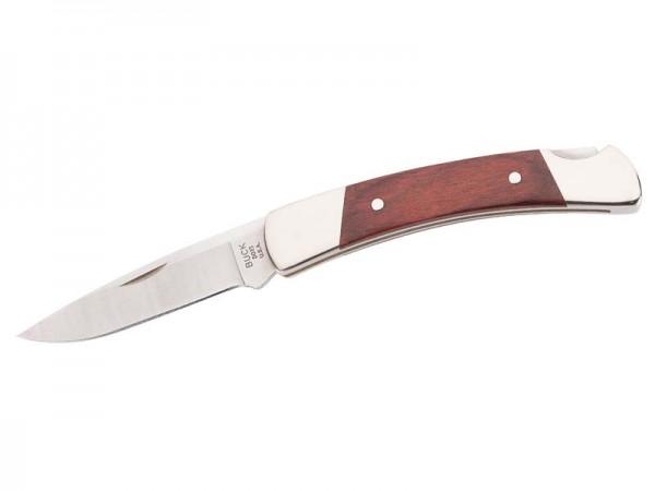 Buck Taschenmesser Squire, 420 HC-Stahl, Maserholz,, Neusilber-Beschläge, schwarze Lederscheide