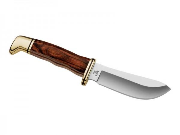 Buck Messer Skinner, 420 HC-Stahl, Pakkaholz Griff,, Messingbeschläge, braune Lederscheide