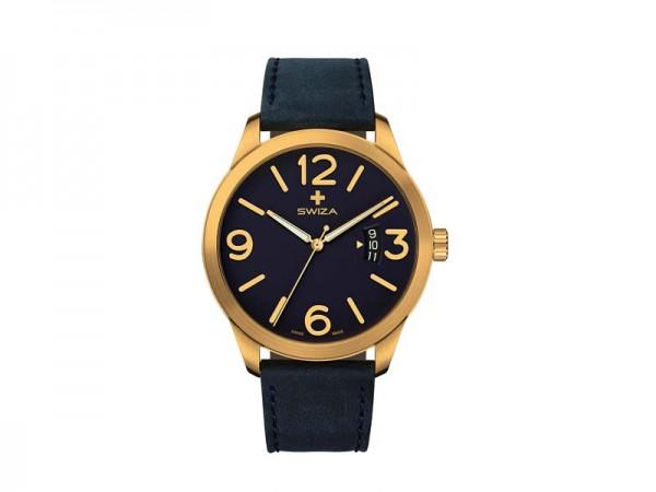 SWIZA Armbanduhr MAGNUS, ETA F07.111 Uhrwerk, Saphirglas,, Stahl 316L, goldfarben PVD-Coated, Kalbsl