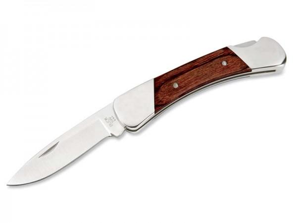 Buck Taschenmesser DUKE, Stahl 420HC, Nagelhau, Back Lock,, polierte Edelstahlbacken, Rosenholzschal