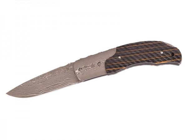 HERBERTZ Taschenmesser, Kernstahl 8Cr13MoV, 71 Lagen Damast,, Back Lock, Griffschalen aus schwarz ge