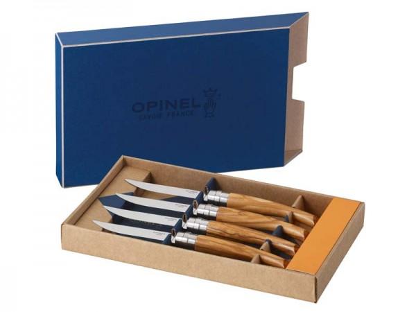 Opinel Steakmesser, 4er Set, Olivenholz,