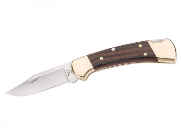 Buck Taschenmesser, Ranger Modell 112, Stahl 420 HC, Holz-Schalen, Messingbacken, Lederetui