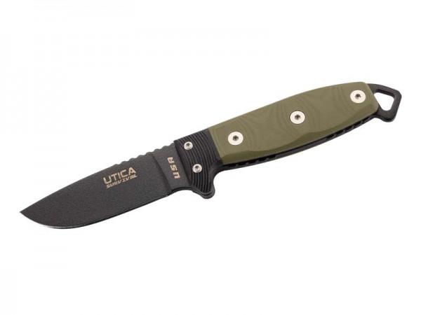 UTICA Messer SURVIVAL S3, nicht-rostfreier Stahl 1095,, beschichtet, grün-schwarzer Micartagriff, Ky