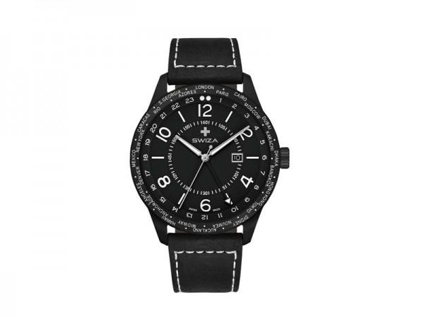 SWIZA Armbanduhr MAGNUS GMT, Ronda 515.24h Uhrwerk,, Edelstahl 316L, schwarz PVD-Coated, Saphirglas,