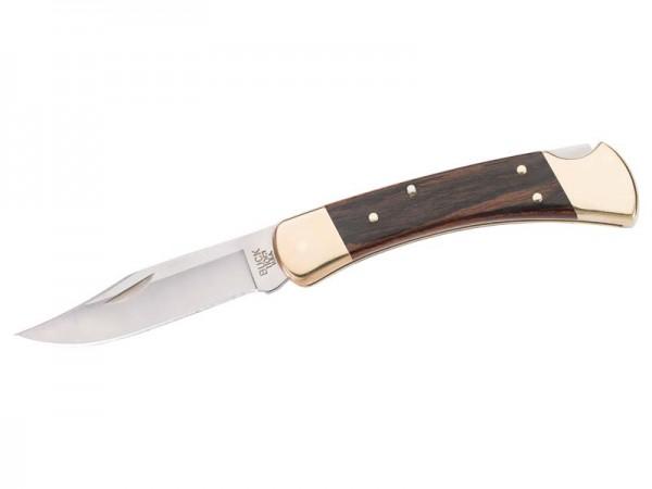 Buck Taschenmessser, Folding Hunter 110, Stahl 420HC, Holzschalen, Messingbacken, Lederetui