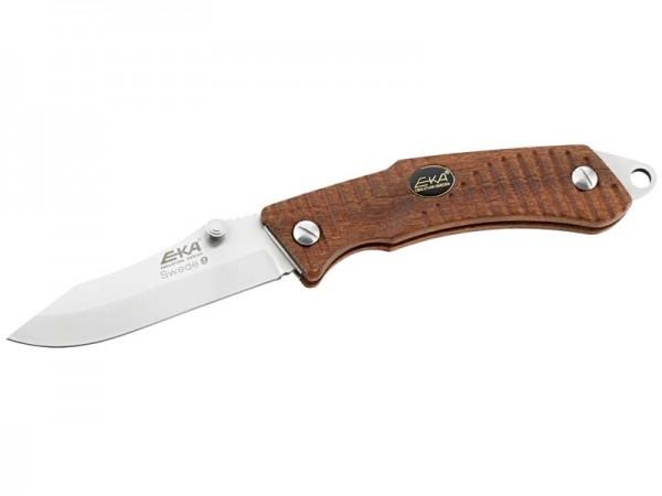 EKA Swede 9, Einhandmesser, 12C27 Sandvik Stahl, Back Lock,, Bubinga-Holzugriffschalen, Fangriemenös