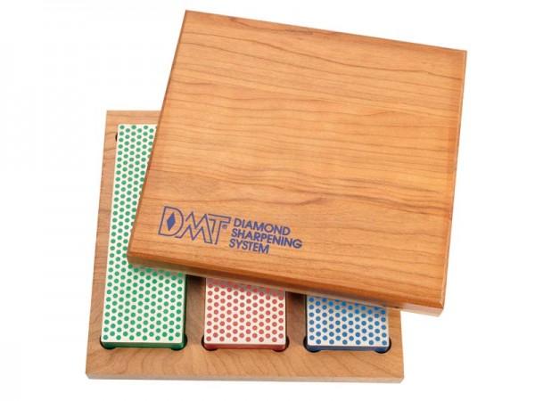 DMT Diamant-Bench Stone Kit, in Holzbox, blau/grob, rot/fein, grün/extrafein
