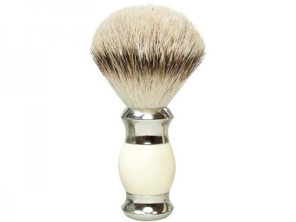 GOLDDACHS Rasierpinsel, 100% Silberzupf ,weiß, silber,