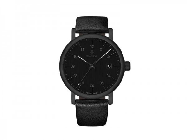 SWIZA Armbanduhr ALZA BLACK, Schweizer Quarzwerk Ronda 515,, 316L Stahl, PVD-beschichtet, Mineralgla
