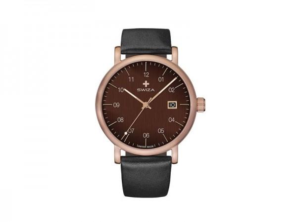 SWIZA Armbanduhr ALZA GREY, Schweizer Quarzwerk Ronda 515,, 316L Stahl, bronzefarben PVD-beschichtet