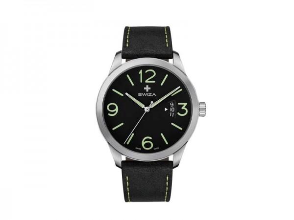 SWIZA Armbanduhr MAGNUS, ETA F07.111 Uhrwerk, Saphirglas,, Edelstahl 316L Gehäuse, schwarzes Zifferb