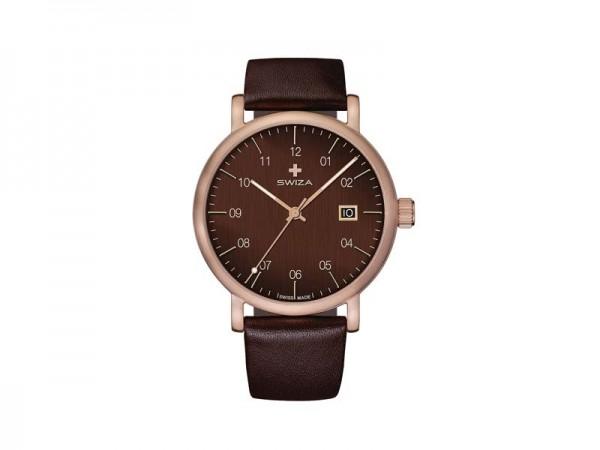 SWIZA Armbanduhr ALZA BROWN, Schweizer Quarzwerk Ronda 515,, 316L Stahl, bronzefarben PVD-beschichte