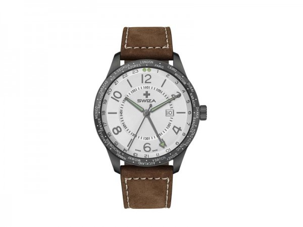 SWIZA Armbanduhr MAGNUS GMT, Ronda 515.24h Uhrwerk,, Edelstahl 316L, PVD-Beschichtung, Kalbslederarm