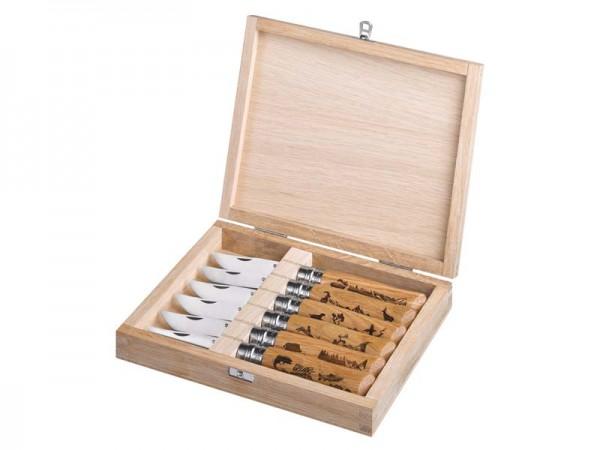Opinel Messer No 08, ANIMALIA-Kollektion, Holzbox,, Set mit 6 Messern, Sandvikstahl 12C27M, rostfrei
