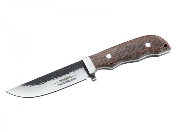 HERBERTZ Top-Collection Gürtel-Messer, AISI 420-Stahl,, Teil-Schmiedezustand, Leinen-Micarta, Leders